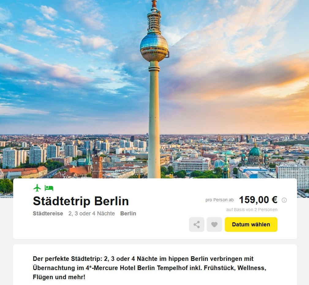 st dtetrip 3 tage berlin im 4 sterne hotel mit fl ge fr hst ck und wellness f r nur 159 euro. Black Bedroom Furniture Sets. Home Design Ideas
